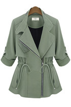 Army Green Drawstring Zipper Coat with Chiffon Back