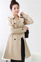 Bowknot Belted Double Breasted Trench Coat - Beige