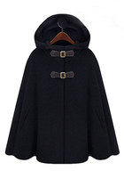 Hooded Cape Style Black Coat