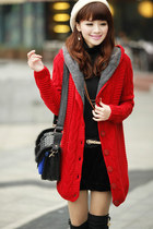 Thick Fleeces Lining Hooded Long Knit Cardigan