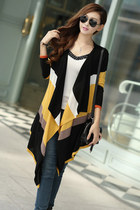 Color-blocked Draped Long Knit Cardigan