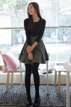 Black/Gray Long Sleeves Skater Dress