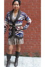 Tribal-forever-21-sweater-brown-macys-boots-snakeskin-h-m-dress