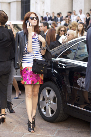 White-t-shirt-pink-skirt-black-jacket-black-shoes