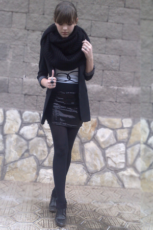 white diy chanel shirt - black savage scarf - black new look skirt