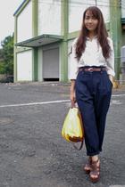 brown shoes - white shirt - yellow bag - blue pants - brown belt