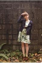 blue H&M jacket - brown Seychelles shoes - green H&M dress - brown vintage belt