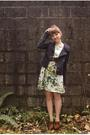blue H&M jacket - brown Seychelles shoes - green H&M dress - brown vintage belt