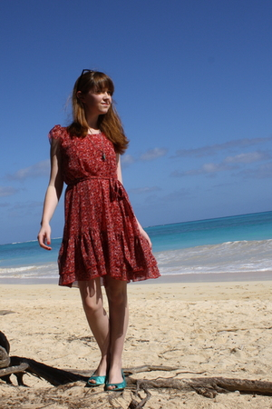 red H&M dress - blue H&M shoes - blue Urban Outfitters swimwear