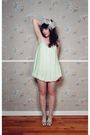 green alexandra grecco dress - beige shoes - white accessories