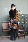 orange floral dress - black boots - black hat - black tights - black scarf