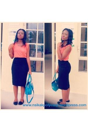 black Forever21 shoes - blue Ebay bag - black H&M skirt - carrot orange Zara top