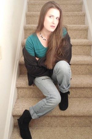 vintage boots - boyfriend jeans - boyfriend jacket - vintage sweater