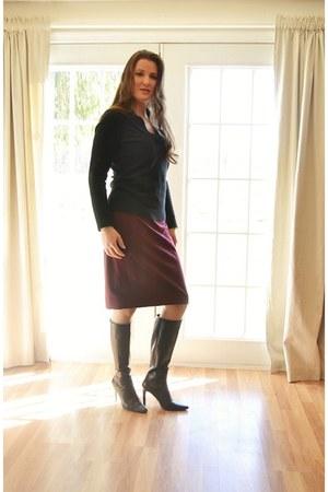 black black leather Newport News boots - black black cashmere ann taylor sweater