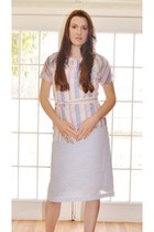 sky blue made by me skirt - white made by me top