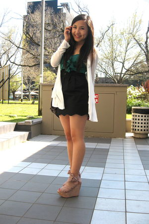 white Forever 21 cardigan - green Urban Outfitters top - black Urban Outfitters