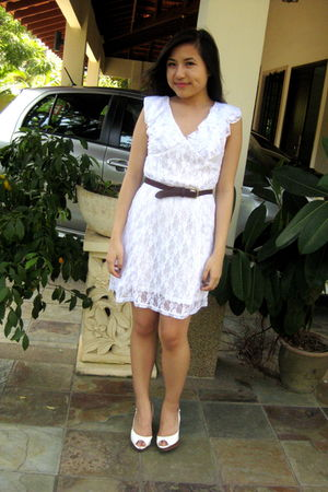 white SG Wang dress - white nose shoes - brown thrifted belt
