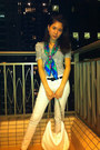 Aquamarine-scarf-dark-khaki-furla-bag-white-zara-pants-camel-cotton-on-top
