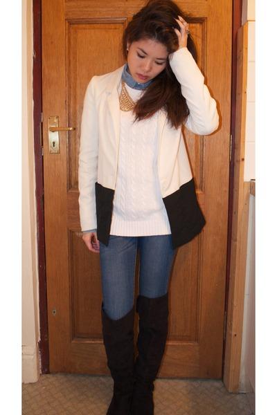 black Forever 21 boots - blue Mango jeans - white H&M blazer