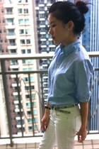 light blue Ralph Lauren shirt - white Zara pants - tan Zara belt