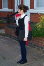 Red-zara-coat-bubble-gum-new-look-necklace-black-office-loafers