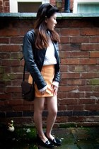 H&M jacket - Ralph Lauren sweater - longchamp bag - Schuh loafers - H&M skirt