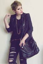 black vintage jeans - black vintage blazer - black leather Cle bag