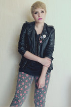 heather gray LOB jeans - black DIY t-shirt - black thats it jacket - aquamarine