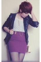 purple Xaviera A skirt - white Xaviera A shirt - black thats it jacket - gold vi