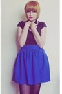 Blue-made-by-myself-skirt-black-cotton-blouse-ivory-necklace