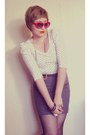 Red-heart-vintage-sunglasses-charcoal-gray-made-by-myself-xaviera-a-skirt-of