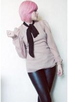 light pink chiffon XavieraQ blouse - black faux leather LOB leggings
