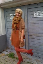 ruby red wild lether H&M boots - tawny H&M dress - bronze polyster H&M scarf