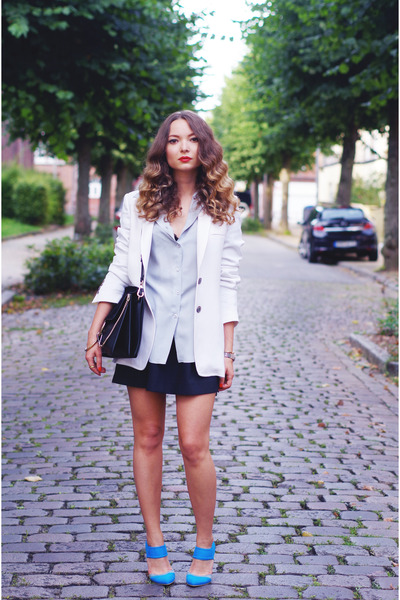black Chloe bag - white René Lézard blazer - light blue emporio armani blouse