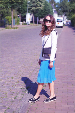 sky blue pleated MARC CAIN skirt - black espadrilles Kenzo shoes