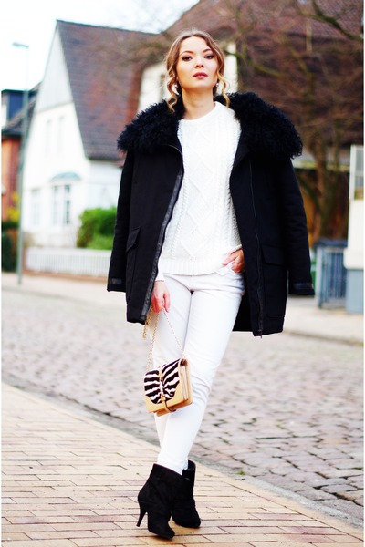 white Zara sweater - black Givenchy boots - black Maje jacket - Gucci purse