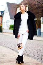 white Zara sweater - black Givenchy boots - black Maje jacket - Gucci purse