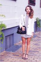 striped Urban Outfitters romper - white René Lézard blazer