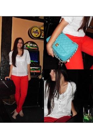 white Zara shirt - light blue leather Chanel purse - red Bershka pants