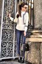 white blazer - black boots - navy jeans - white shirt - black bag - sunglasses