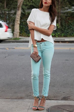 light blue jeans - white shirt - light brown bag - tan sandals