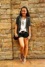 Gray-local-deptstore-blazer-white-bench-body-shirt-black-deep-shorts-black
