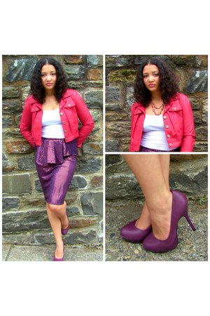 sequin YHC Boutique skirt - plum Sole Society heels