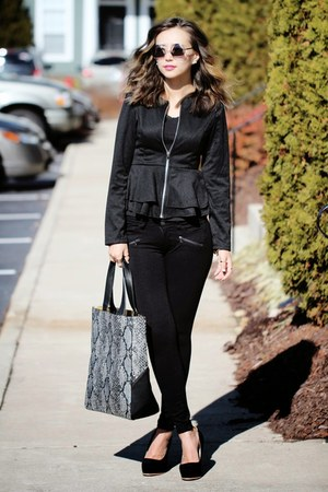 black Yoins blazer - black Yoins bag