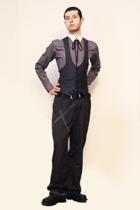 Zara shirt - From Harajuku Tokyo vest - Hanjiro tie - pants - boots