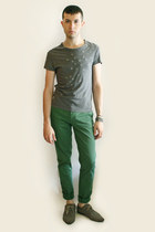 charcoal gray H&M shoes - heather gray H&M t-shirt - turquoise blue Zara pants -