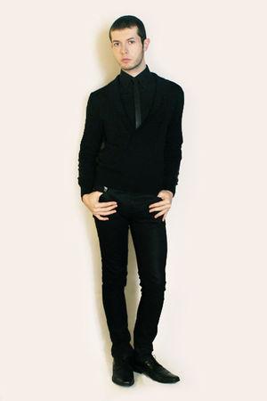 black Misaky shirt - black Sisley cardigan - black Sisley tie - black Zara pants