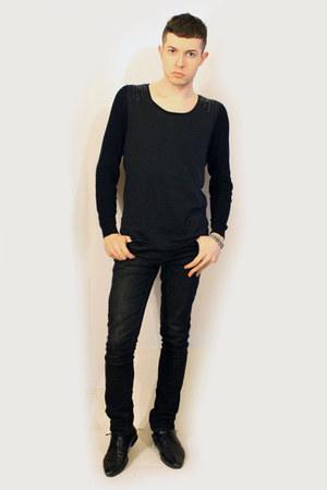 black Zara shoes - black Zara pants - black AAA Topman vest - black Zara t-shirt