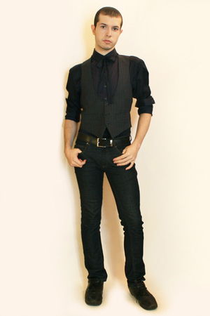 H&M shirt - H&M tie - Hanjiro vest - Zara jeans - shoes - belt