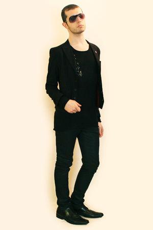 black H&M t-shirt - black Zara pants - black Npfeel jacket - silver H&M sunglass